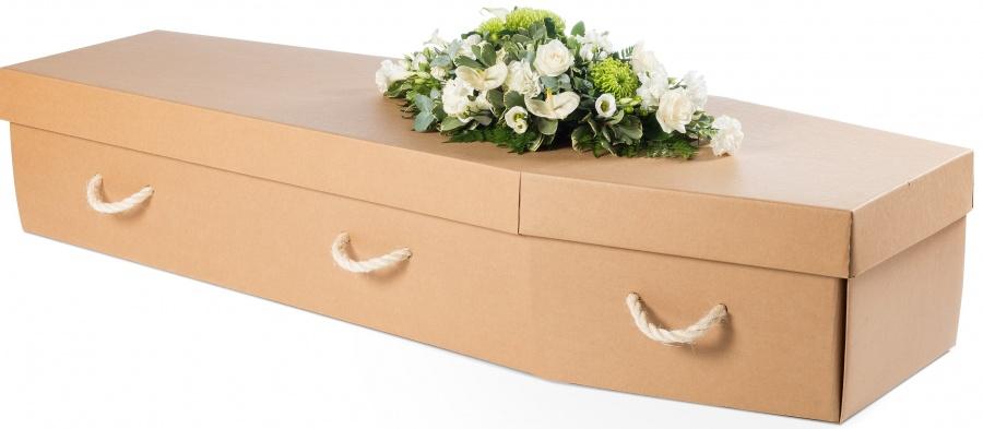 Cardboard Coffin in Manila colour - The green coffin company.com